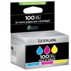 PACK DE 3 CARTOUCHES JET D'ENCRE ORIGINAL LEXMARK N°100XL 14N0849